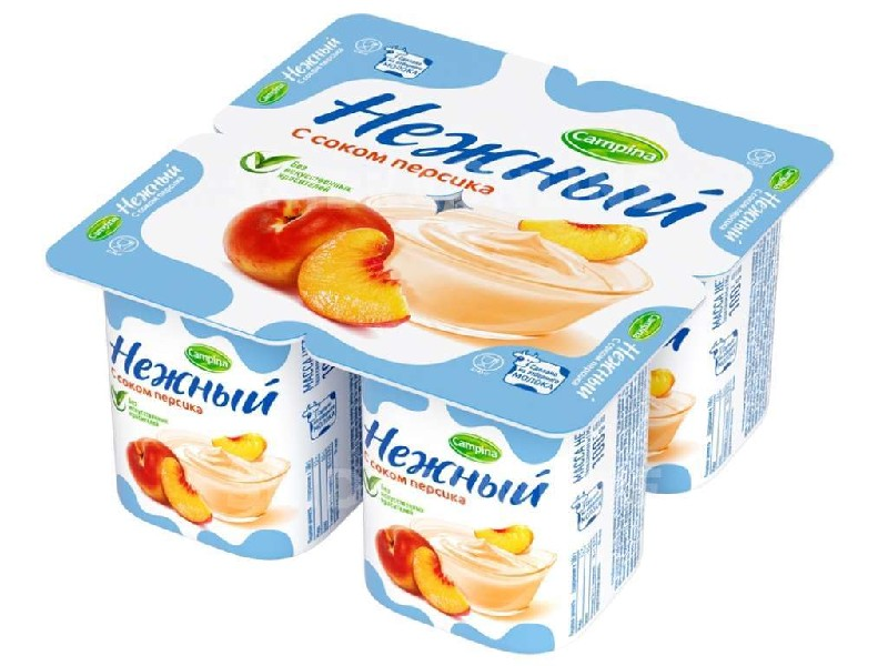 Йогурт  Кампина  с соком персика 1.2% 100мл.