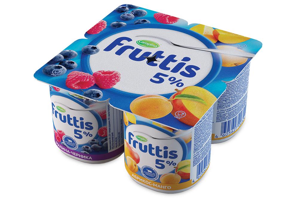 Йогурт  Фруттис  сливочное лакомство 5% малина-черника/абрикос-манго 115гр.