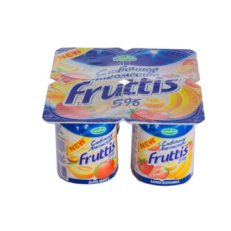 Йогурт  Фруттис  сливочное лакомство 5% дыня-манго/банан-клубника 115гр.