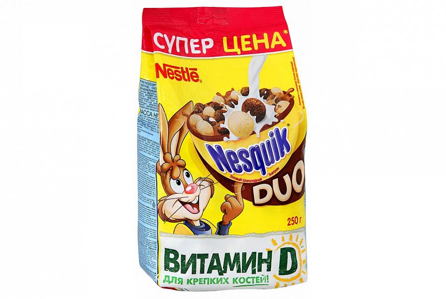 Готовый завтрак  Несквик  DUO шоколадные шарики вкус белого и темного шоколада 250гр.