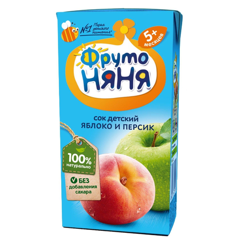 Сок  ФрутоНяня  яблочно-персиковый для питания детей раннего возраста 0.2л.