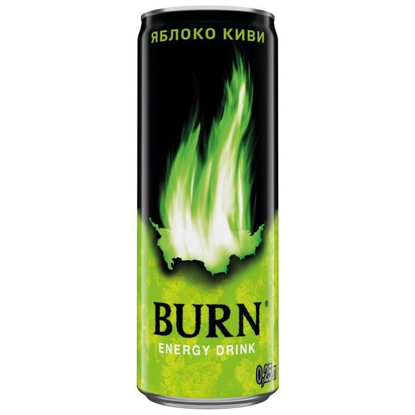 Энергетический напиток  Burn  яблоко-киви 0.25мл.