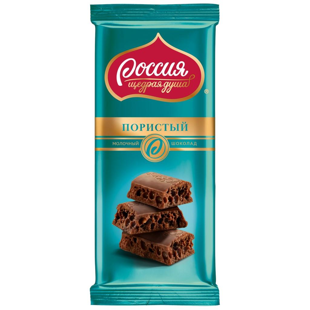 Шоколад  Россия  молочный пористый 85гр.