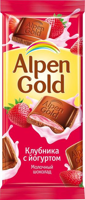 Шоколад  Альпен Гольд  с клубнично-йогуртовой начинкой 85гр.