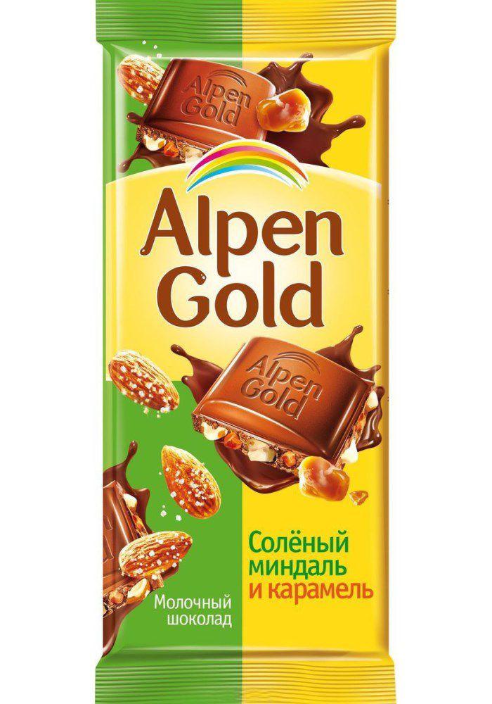 Шоколад  Альпен Гольд  соленый миндаль и карамель 85 гр.