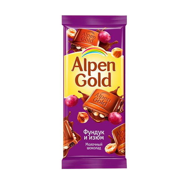Шоколад  Альпен Гольд  фундук/изюм 85гр.