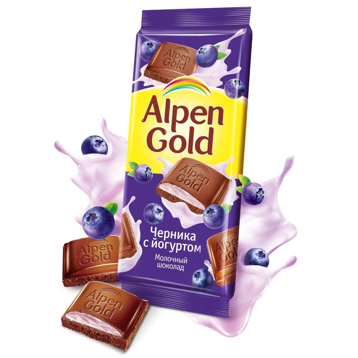 Шоколад  Альпен Гольд  чернично-йогуртовой начинкой 85гр.
