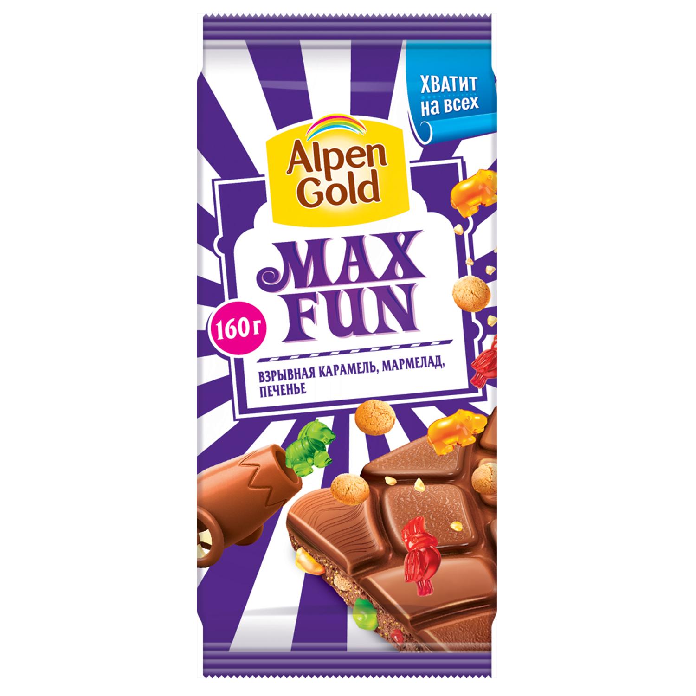 Шоколад  Alpen Gold  Max Fun молочный взрывная карамель