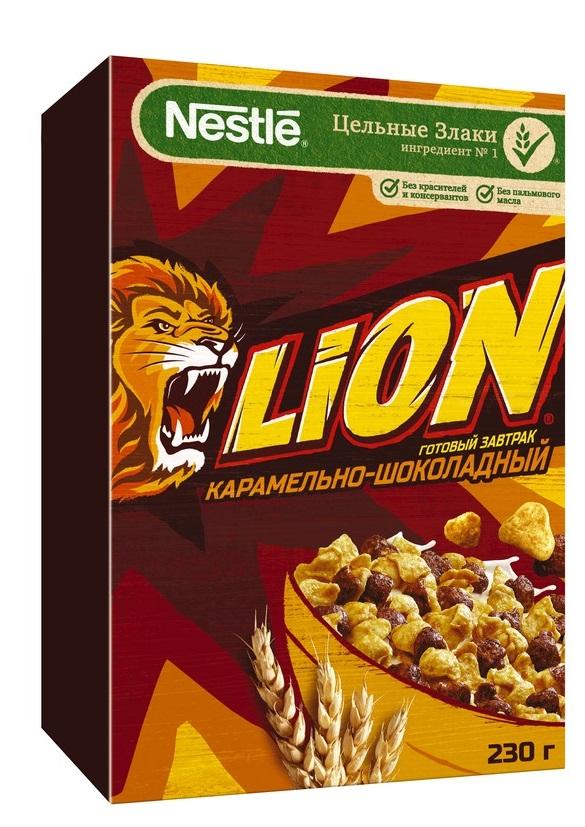 Сухой завтра  Lion  карамельно-шоколадный 230гр.