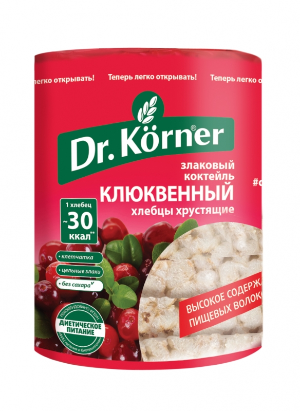 Хлебцы Dr. Korner  Злаковый коктейль  клюквенный 100гр.