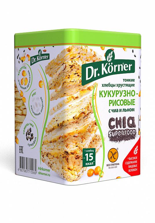 Хлебцы хрустящие Dr. Korner «Кукурузно-рисовые» с чиа и льном 100гр.