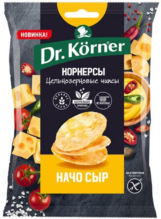 Чипсы Dr. Korner цельнозерновые с сыром начо 50гр.