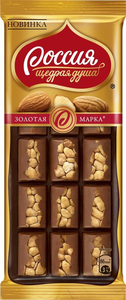 Шоколад  Золотая марка  темный с миндалем 80гр.