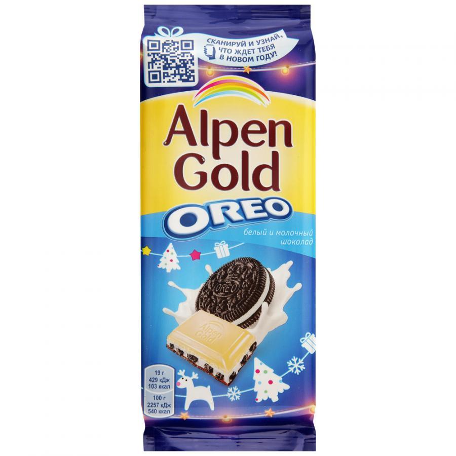 Шоколад  Альпен гольд  молочный и белый с начинкой и кусочками печенья 95гр.