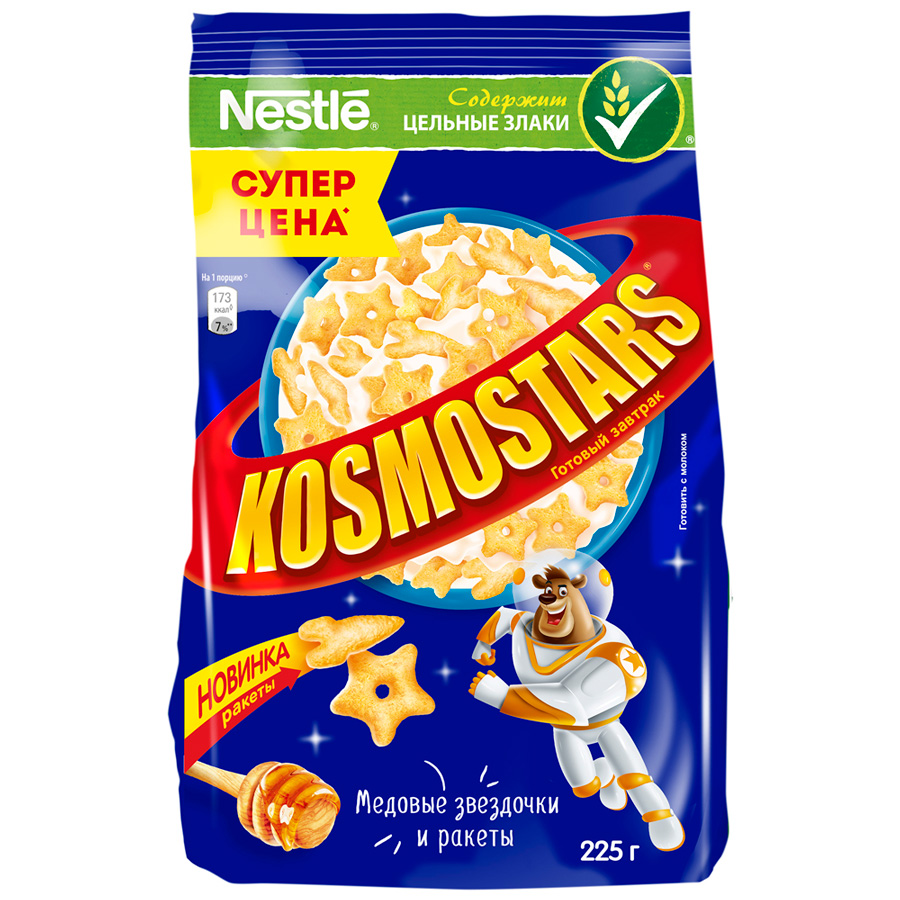 Сухой завтрак Космостарс хрустящие звездочки с медом мягкая упаковка  225 гр