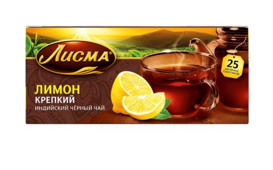 """Чай Лисма Лимон Крепкий"""" черный ароматизированный мелкий лист 25 пакетиков"""""""