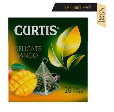 Чай Curtis 'Delicate Mango' зеленый ароматизированный средний лист 20 пирамидок