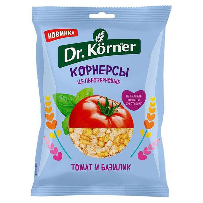 Чипсы цельнозерновые Корнерсы 'Dr Korner' кукурузно-рисовые с томатом и базиликом 50 гр.