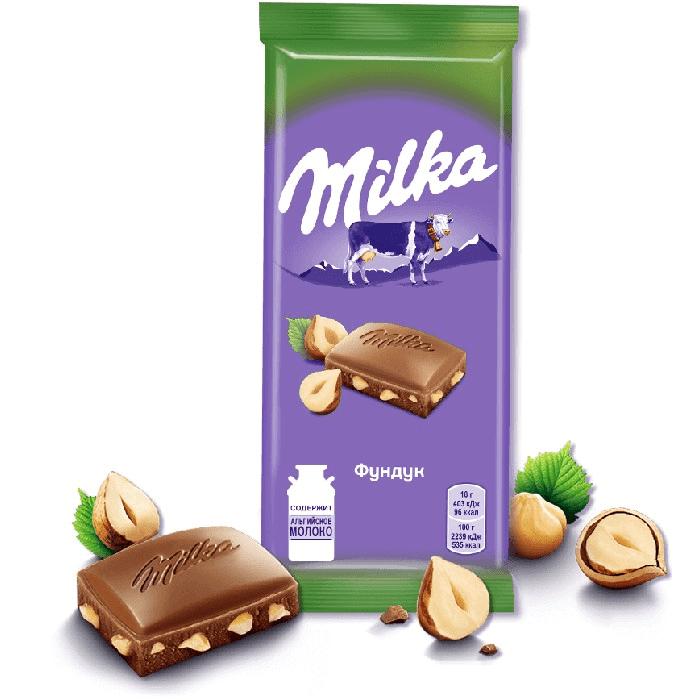 Милка шоколад молочный с фундуком (дробл орех)  85 гр