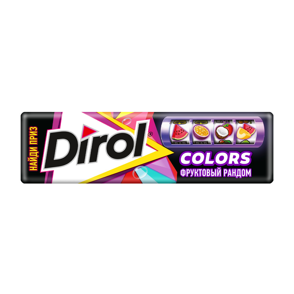 DIROL COLORS фруктовый рандом жевательная резинка без сахара 13.6 гр