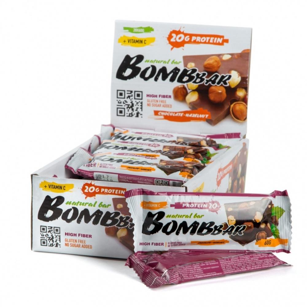 Протеиновый батончик Bombbar шоколад-фундук 60гр.