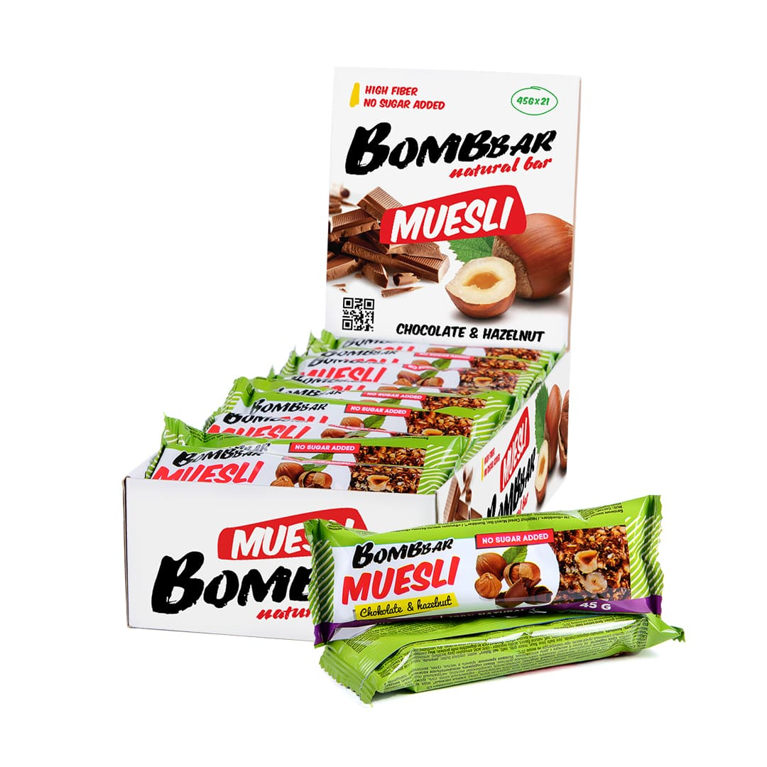 Мюсли-батончики Bombbar фундук 45гр.