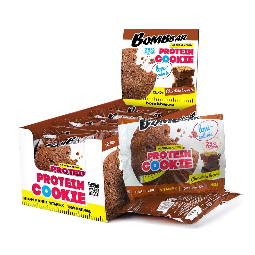 Низкокалорийное печенье Bombbar шоколадный брауни 40гр.