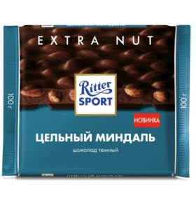 Шоколад Риттер-Спорт темный с цельным миндалем 100гр.
