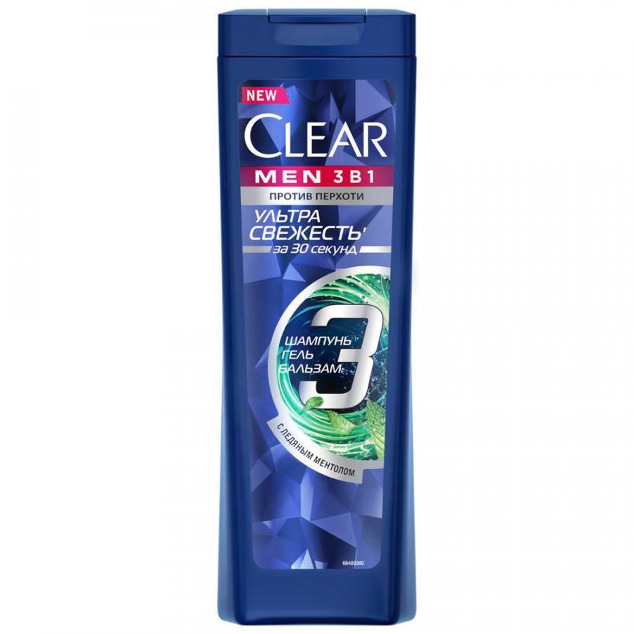 CLEAR шампунь -бальзам-гель 3в1 ультра свежесть 400 мл