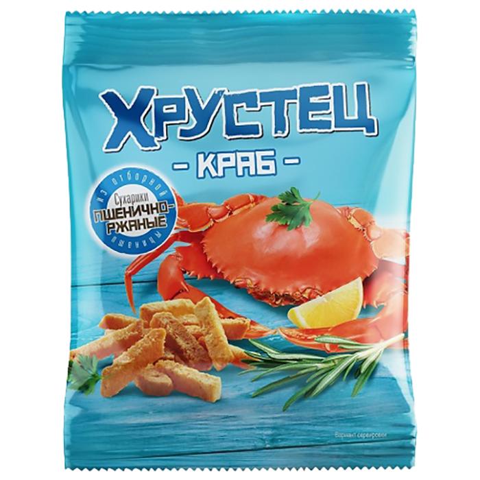 Сухарики Хрустец пшенично-ржаные Краб 80гр.