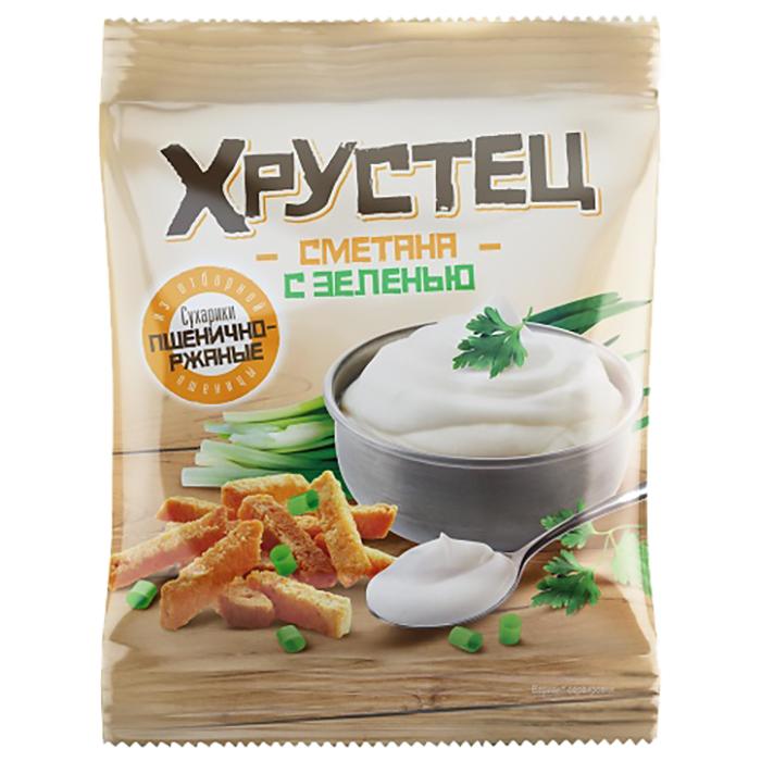 Характеристики Сухарики Хрустец пшенично-ржаные со вкусом сметаны с зеленью 80гр.