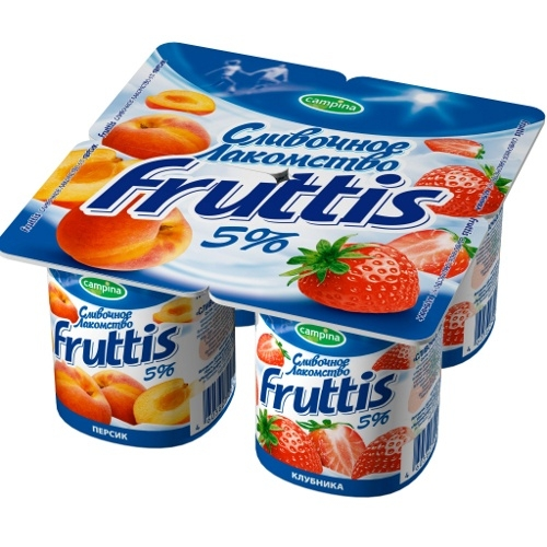 Йогурт  Фруттис Сливочное лакомство  5% клубника/персик 115 гр