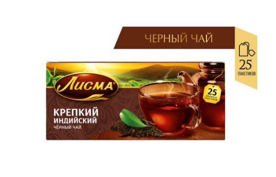 Чай Лисма 'Крепкий' черный мелкий лист 25 пакетиков