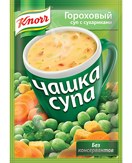 Чашка супа  Кнорр  гороховый с сухариками 21гр.