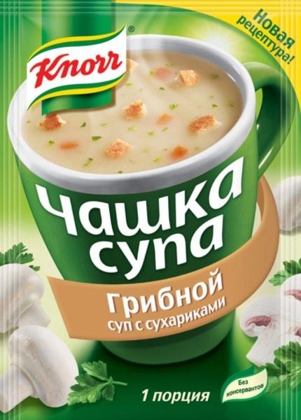 Чашка супа  Кнорр   грибной с сухариками 15.5р.