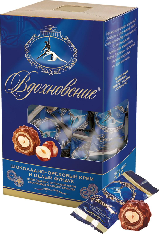 Набор конфет  Вдохновение  шоколадно-ореховый крем и цельный фундук 240гр.