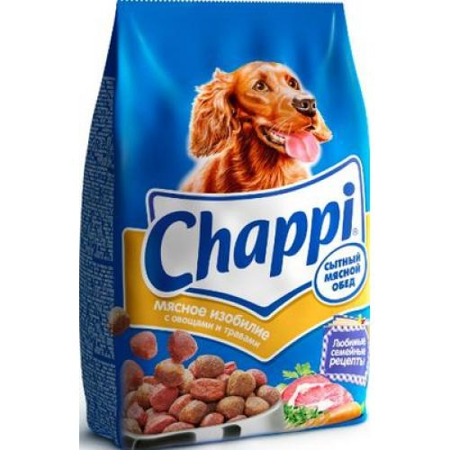 Сухой корм  Чаппи  сытный мясной обед мясное изобилие 600гр.