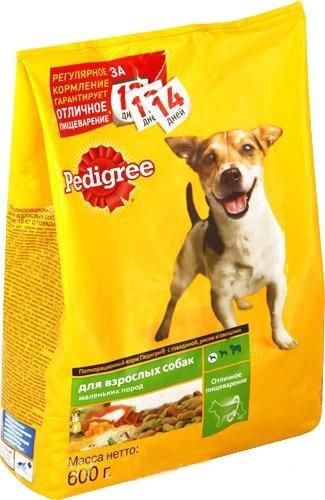 Педигри  для взрослых собак мелких пород говядина/рис/овощи 600гр