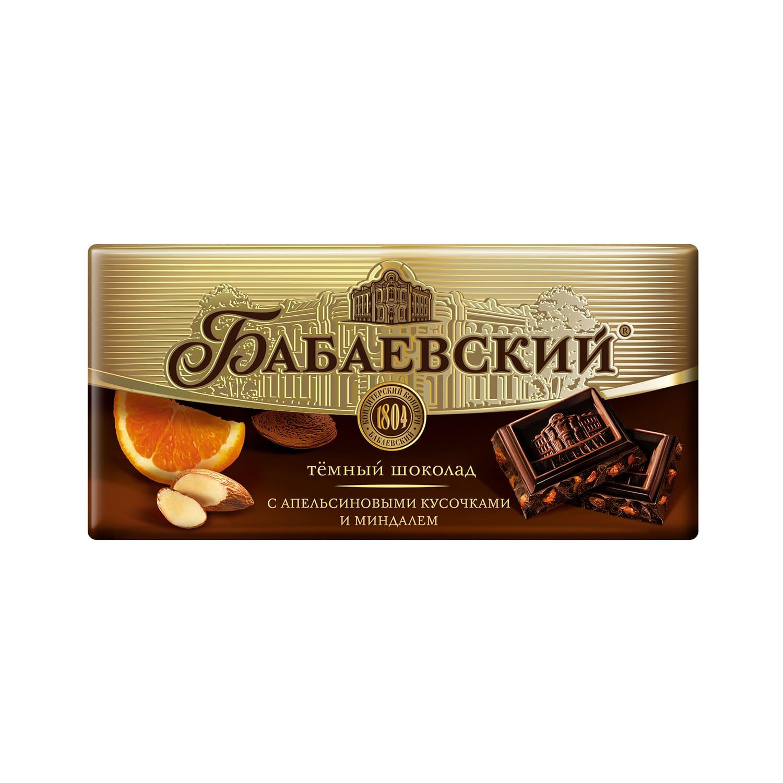 Шоколад  Бабаевский  с апельсиновыми кусочками и миндалем 100гр.