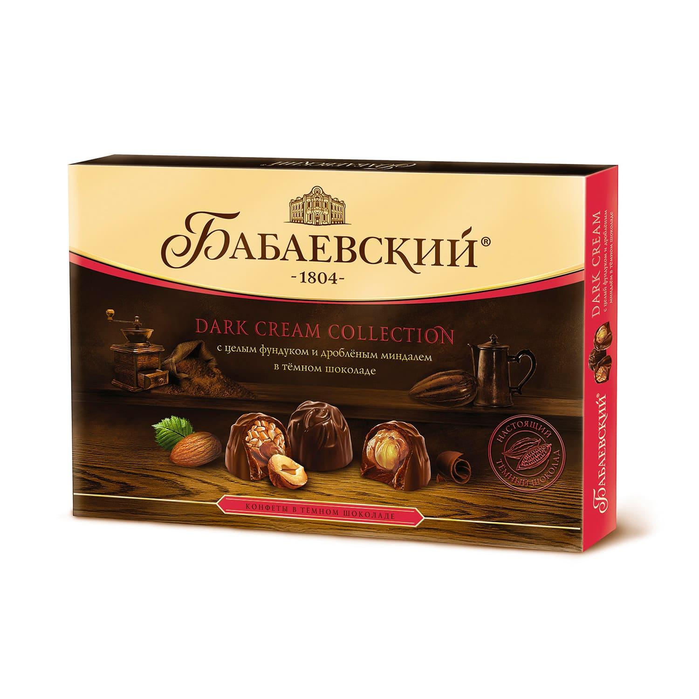 Набор конфет цельный фундук и ореховый крем в темном шоколаде Dark Cream 200гр.