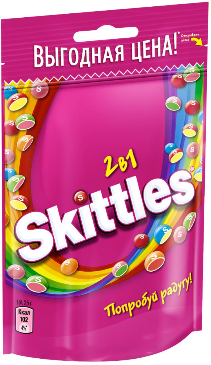 Жевательные конфеты в глазури  Скиттелс  2 в 1 100гр.