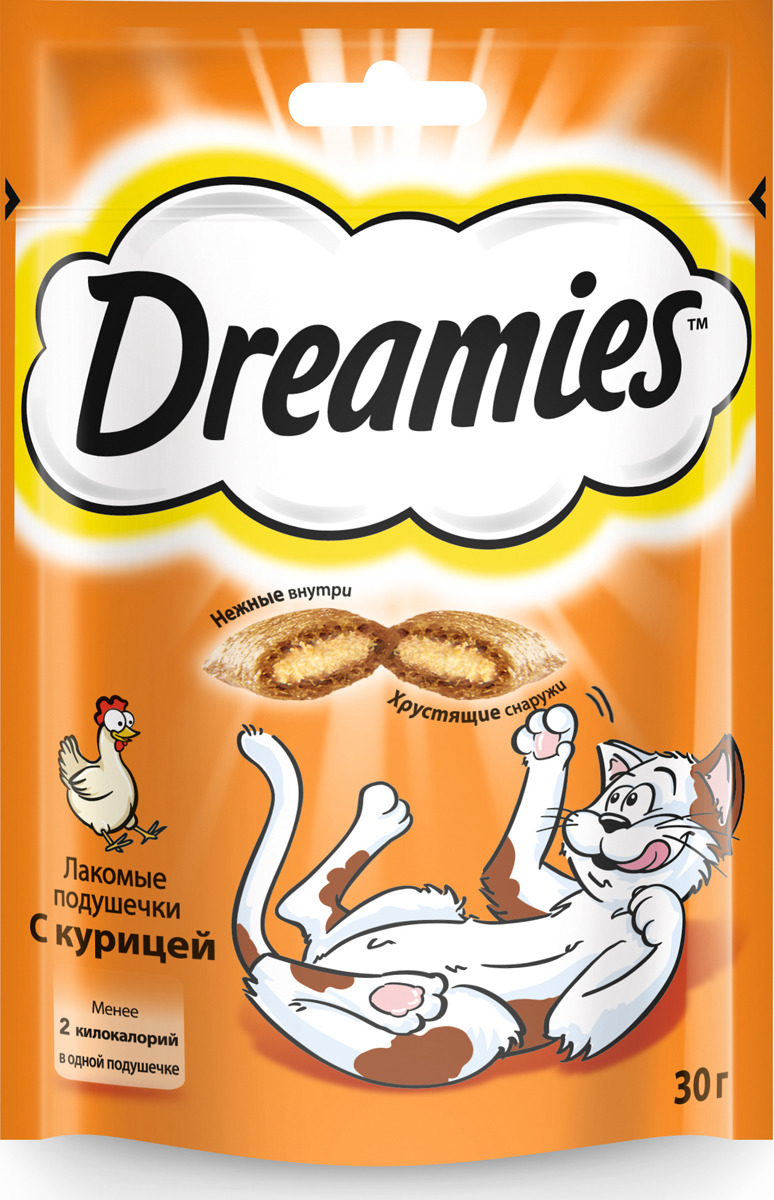 Лакомство для кошек  Dreamies  с курицей 30гр.