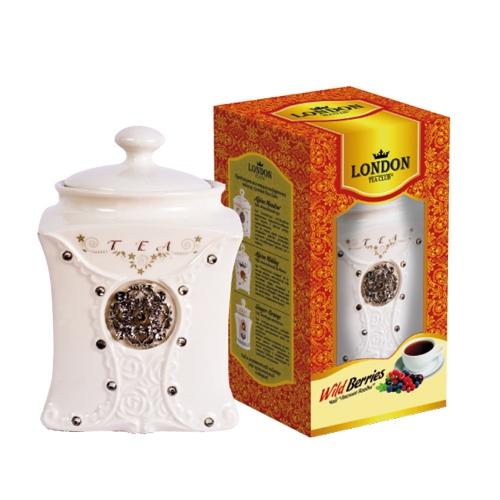 Чай черный  Лесные ягоды  в фарфоровой чайнице 100 гр
