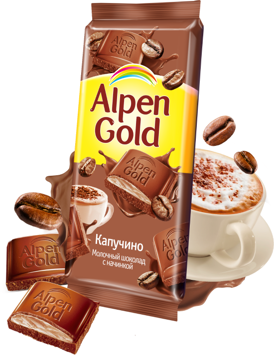 Шоколад  Альпен Гольд  со вкусом капучино 85гр.