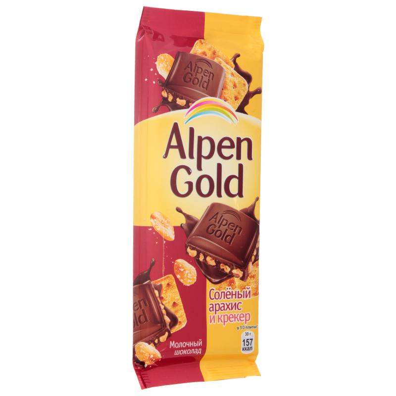 Шоколад  Альпен Гольд  молочный с соленым арахисом и крекером 85гр.