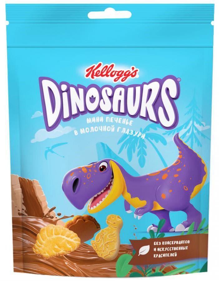 Мини-печенье Kellogg's Dinosaurs сахарное в молочной глазури 50гр.