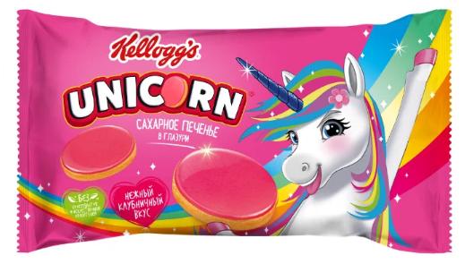 Печенье Kellogg's Unicorn сахарное в клубничной глазури 105гр.