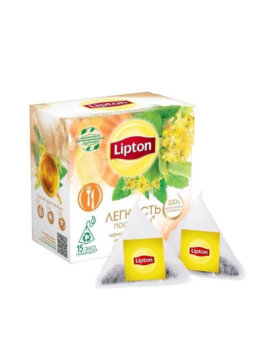 Липтон чай черный легкость после еды с фенхелем 15 пирамидок 1