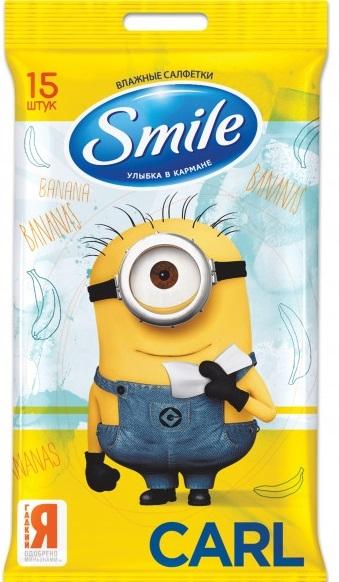 SMILE MINIONS ВЛАЖНЫЕ САЛФЕТКИ (3 ДИЗАЙНА) 15 ШТ (52ШТ/ЯЩ) NEW!