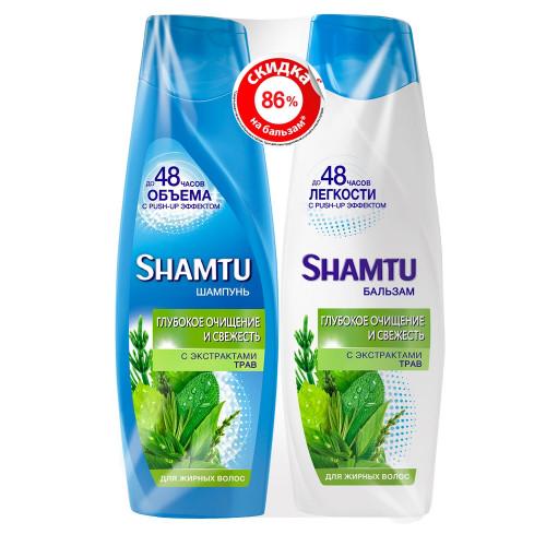Спайка SHAMTU глубокое очищение и свежесть с экстратами трав шампунь 360 мл+бальзам 360 мл
